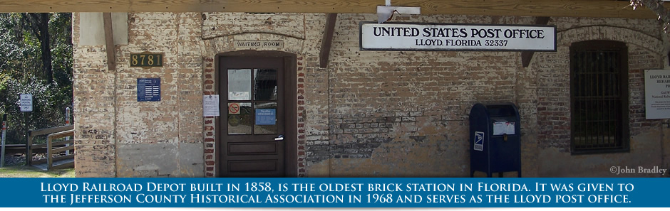 Lloyd Railroad Depot built in 1858, is the oldest brick station in Florida. It was given to the Jefferson County Historical Association in 1968 and serves as the lloyd city post office